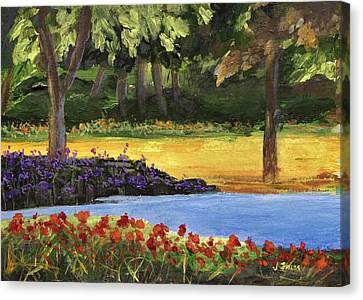 Canvas Print featuring the painting Forest Lake by Jamie Frier