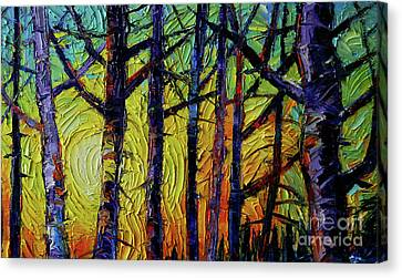 Mysterious Sunset Canvas Print - Forest Layers 1 - Modern Impressionist Palette Knives Oil Painting by Mona Edulesco