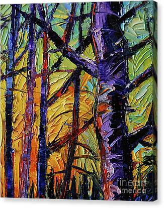Mysterious Sunset Canvas Print - Forest Layers 2 - Modern Impressionist Palette Knives Oil Painting by Mona Edulesco