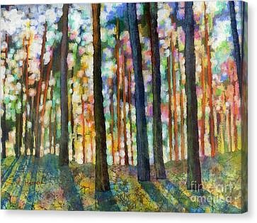 Canvas Print featuring the painting Forest Light by Hailey E Herrera