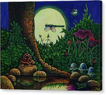 Canvas Print featuring the painting Forest Never Sleeps Chapter- Full Moon by Michael Frank