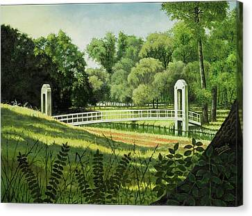 Canvas Print featuring the painting Forest Park Footbridge by Michael Frank