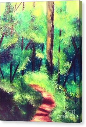 Canvas Print featuring the painting Forest Path by Denise Tomasura
