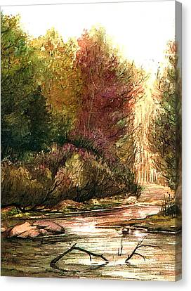 Canvas Print featuring the painting Forest Puddle by Mikhail Savchenko