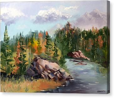 Forest River Landscape Oil Painting By Artist Mark Webster. Canvas Print