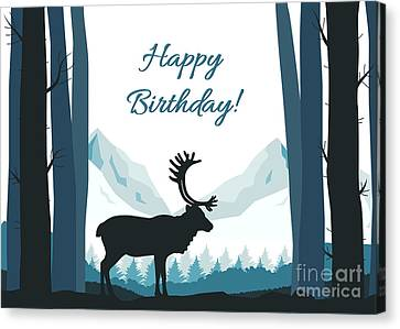 Canvas Print featuring the digital art Forest Silhouette Birthday by JH Designs