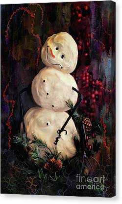 Forest Snowman Canvas Print by Lois Bryan