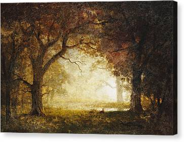 Forest Sunrise Canvas Print by Albert Bierstadt