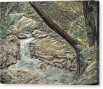 Forest Waterfall Canvas Print by Doris Lindsey