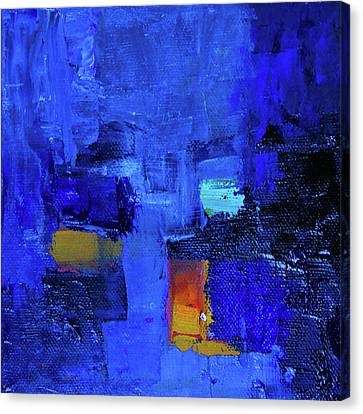 Canvas Print featuring the painting Forever Blue Abstract by Nancy Merkle