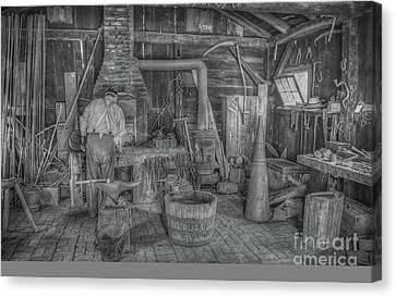 Forged In Fire Black And White Canvas Print