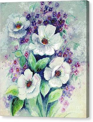 Forget-me-knots And Roses Canvas Print by Hazel Holland