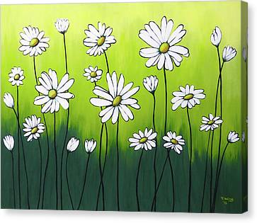 Canvas Print featuring the painting Daisy Crazy by Teresa Wing