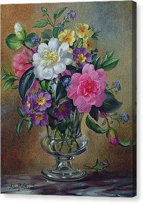 Forget Me Nots And Primulas In Glass Vase Canvas Print by Albert Williams