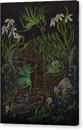 Canvas Print featuring the drawing Forgetmenots by Dawn Fairies