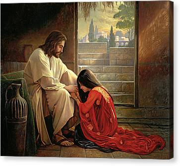 Red Dress Canvas Print - Forgiven by Greg Olsen