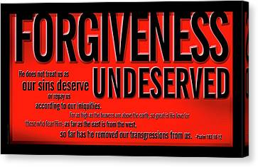 Canvas Print featuring the digital art Forgiveness Undeserved by Shevon Johnson