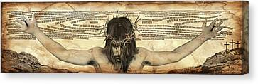 Crucifixtion Canvas Print - Forgiveness by Vicki Zimmerly Carson