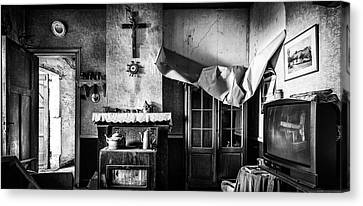 Haunted House Canvas Print - Forgotten Living Room - Abandoned House Interior by Dirk Ercken