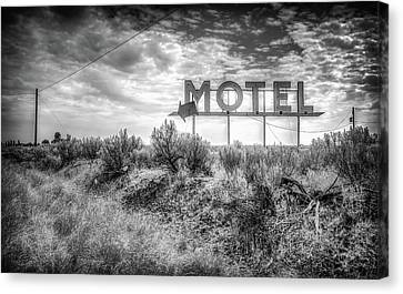 Canvas Print featuring the photograph Forgotten Motel Sign by Spencer McDonald