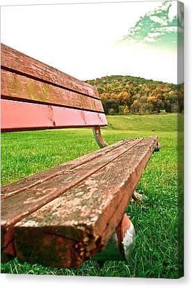 Forgotten Park Bench Canvas Print by Jennifer Addington