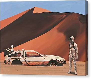 Canvas Print featuring the painting Forgotten Time Machine by Scott Listfield