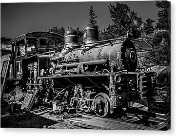 Forgotten Train Black And White Canvas Print by Garry Gay