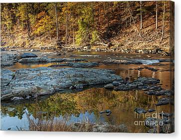Canvas Print featuring the photograph Fork River Reflection In Fall by Iris Greenwell