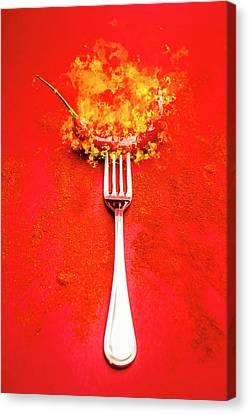 Forking Hot Food Canvas Print by Jorgo Photography - Wall Art Gallery