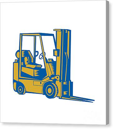Forklift Truck Side Woodcut Canvas Print