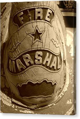 Former Fire Marshal Hat Canvas Print by Mark J Seefeldt