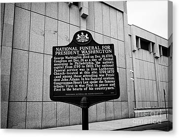 former site of zion lutheran church national funeral for president washington plaque Philadelphia US Canvas Print