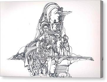 Canvas Print featuring the drawing Forms In The Head by Padamvir Singh