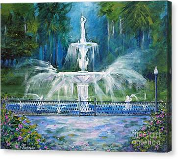 Forsyth Fountain In Savannah Canvas Print by Doris Blessington