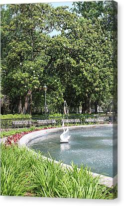 Forsyth Park Fountain With Swan And Magnolias Canvas Print by Carol Groenen