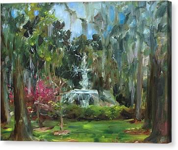 Forsyth Park Savannah Canvas Print by Ann Bailey