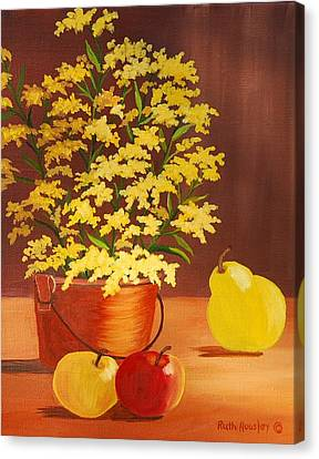 Forsythia Flowers And Fruit Sold Canvas Print by Ruth  Housley