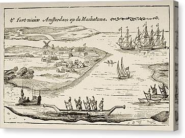 Fort And Settlement Of New Amsterdam On Canvas Print by Vintage Design Pics