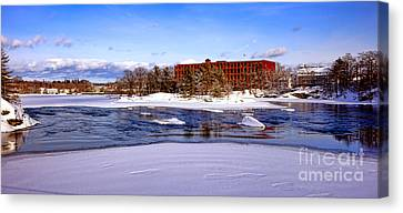 Maine Winter Canvas Print - Fort Andross Mill And Androscoggin River In Winter  by Olivier Le Queinec