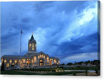 Fort Collins Lds Temple Blue Clouds Canvas Print by David Zinkand