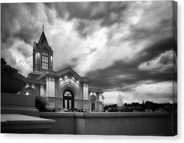 Fort Collins Lds Temple Se Corner Bw Canvas Print by David Zinkand
