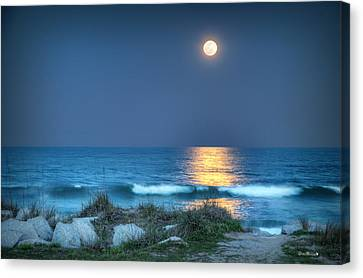 Fort Fisher Moonbeam Canvas Print by Phil Mancuso