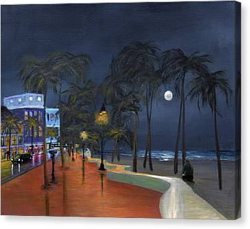 Fort Lauderdale Beach At Night Canvas Print