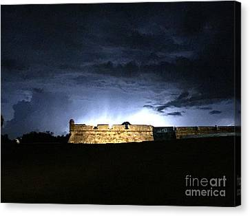Lightening At Castillo De San Marco Canvas Print