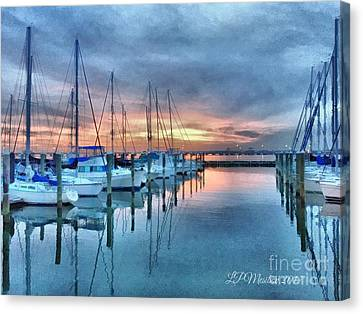 Canvas Print featuring the photograph Fort Monroe Afire by Linda Mesibov