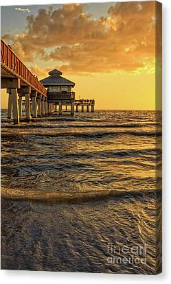 Fort Myers Beach Fishing Pier At Sunset Canvas Print by Edward Fielding