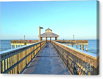Canvas Print featuring the photograph Fort Myers Beach Florida Fishing Pier by Timothy Lowry