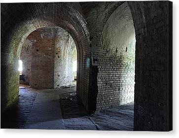Fort Pickens Corridors Canvas Print by Laurie Perry
