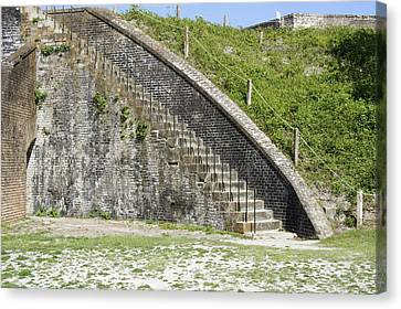 Fort Pickens Stairs Canvas Print by Laurie Perry