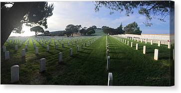 Canvas Print featuring the photograph Fort Rosecrans National Cemetery by Lynn Geoffroy